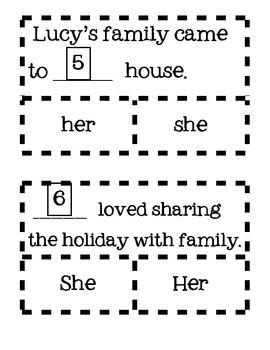 Thanksgiving Pronouns (he, she, him, his, she)