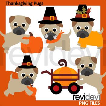 Thanksgiving Pugs Clip Art