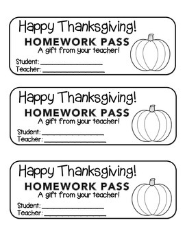 """Thanksgiving"" Pumpkin - Homework Pass –Holiday FUN! (black line version)"