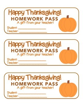 """Thanksgiving"" Pumpkin - Homework Pass – Holiday FUN! (full color version)"