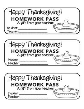 """Thanksgiving"" Pumpkin Pie - Homework Pass –Holiday FUN! (black line version)"