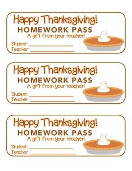 """Thanksgiving"" Pumpkin Pie - Homework Pass – Holiday FUN! (full color version)"