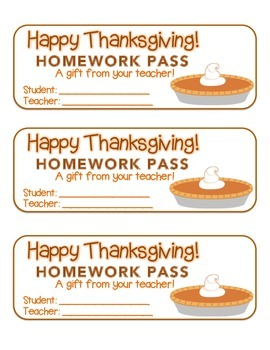 """Thanksgiving"" Pumpkin Pie - Homework Pass – Holiday FUN! (full color version)"