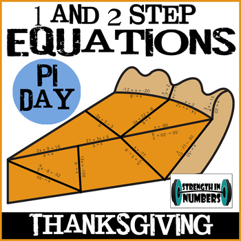 Pumpkin Pie Puzzle 1 and 2 Step Equations - Pi Day!