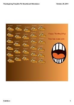 Thanksgiving Pumpkin Pie Smarboard Attendance
