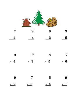 Thanksgiving Pumpkin Turkey Subtraction Single-Digit Math Center Printable 2 pgs