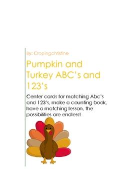 Thanksgiving Pumpkin and Turkey ABC 123 Center