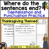 Thanksgiving Writing, Punctuation & Capitalization; Where do the sentences end?