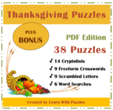 Thanksgiving Puzzle Collection + BONUS-38 Unique Puzzles+B