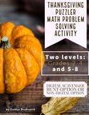 Thanksgiving Puzzler Math Problem Solving Enrichment Activity
