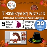 Thanksgiving Puzzles - Google Classroom Puzzles PK-8 {Tech
