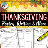 Thanksgiving Activities - Writing, Poetry and Puzzles