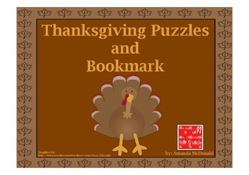 Thanksgiving Puzzles and Bookmark