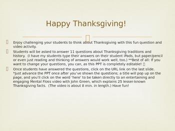 "Thanksgiving Q & A with John Green ""Mental Floss"" video!"