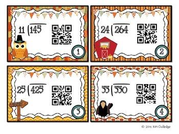 Thanksgiving QR Code Fun: Division Task Cards