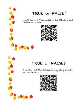 Thanksgiving QR Code True or False Cards