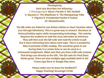 Thanksgiving QR code Inferencing 3-5 (Common Core Aligned)
