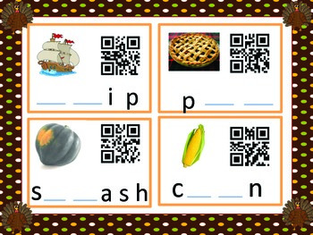 Thanksgiving QR code K-1 sentence writing and phonics (Common Core Aligned)