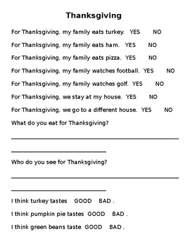 Thanksgiving Questions AAC