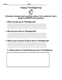 Thanksgiving Questions for Centers (On-Level)