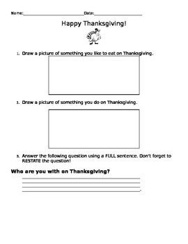 Thanksgiving Questions for Centers (Strategic Intervention Level)