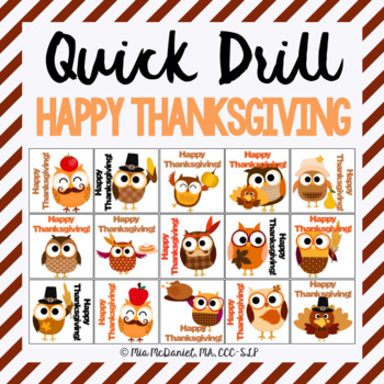 Thanksgiving Quick Drill {for articulation or fluency therapy & RTi}