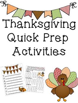 Thanksgiving Quick Prep Activities