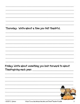 Thanksgiving Quick Writes