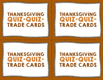 Thanksgiving Quiz Quiz Trade Cards - Warmup, Morning Meeting, or Brainbreak