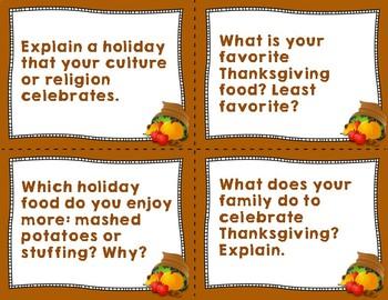 Thanksgiving Quiz Quiz Trade Cards - Warmup, Morning Meeting, or Brainbreak