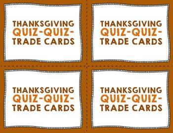 Thanksgiving Quiz Quiz Trade Cards {Set of 24}