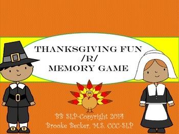 Thanksgiving /R/ Memory Game-FREE!