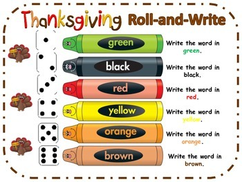 Thanksgiving Rainbow Roll-and-Write  - Spelling - Word Work