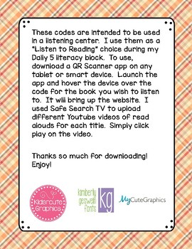 Thanksgiving Read Aloud Books QR Code Listening Center
