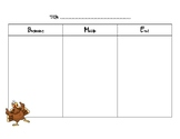 Thanksgiving Read Aloud organizers (work with any fiction book)