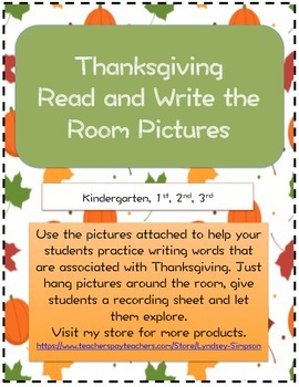 Thanksgiving Read and Write the Room Cards and Sheet