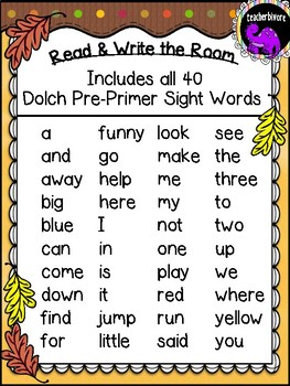 Thanksgiving Read and Write the Room - Dolch Pre-Primer Sight Words