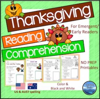 Thanksgiving Reading Comprehension Worksheets