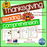 Thanksgiving Activities: Thanksgiving Reading Comprehension Worksheets