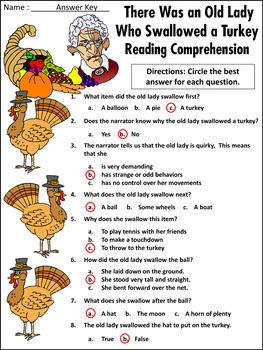 Thanksgiving Reading Activities Old Lady Who Swallowed A Turkey