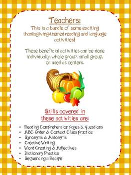 Thanksgiving Reading Activities/Centers - Grades 2 & 3 - The Walshie Workshop