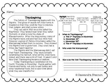 Thanksgiving Reading Activity