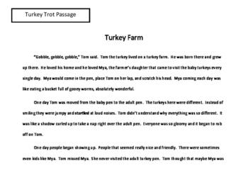Thanksgiving Reading Activity Turkey Trot Game