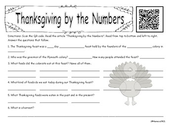 Free Thanksgiving Reading Activity with QR Code!