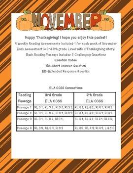 Thanksgiving Printables ELA CC Aligned {3rd and 4th Grade}