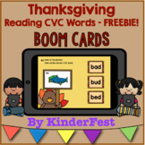 Thanksgiving Reading CVC Words Boom Cards - FREEBIE!