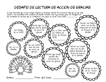Thanksgiving Reading Challenge (Spanish)