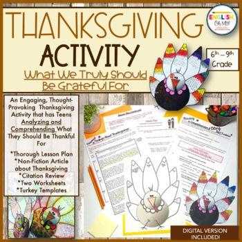 Thanksgiving Reading, Citing, Informational & Turkey Craftivity