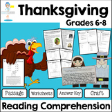 Thanksgiving Reading Passage and comprehension questions