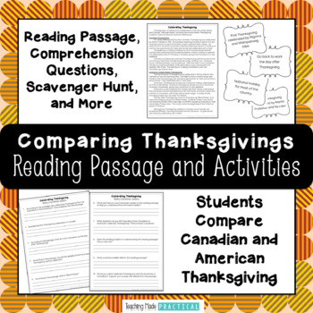 Thanksgiving Reading Comprehension: Compare and Contrast C